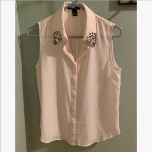 Forever 21 Bedazzled Collar Blouse